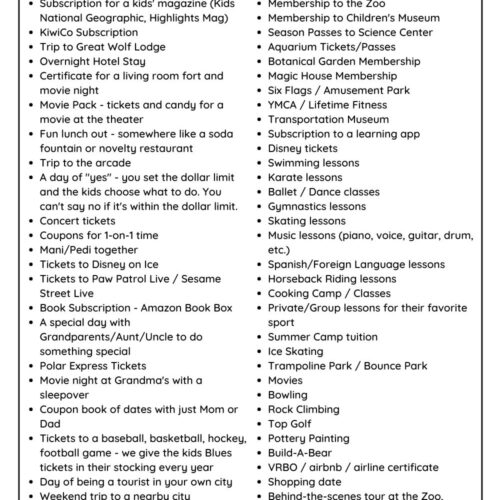 list of non-toy experience gift ideas for kids
