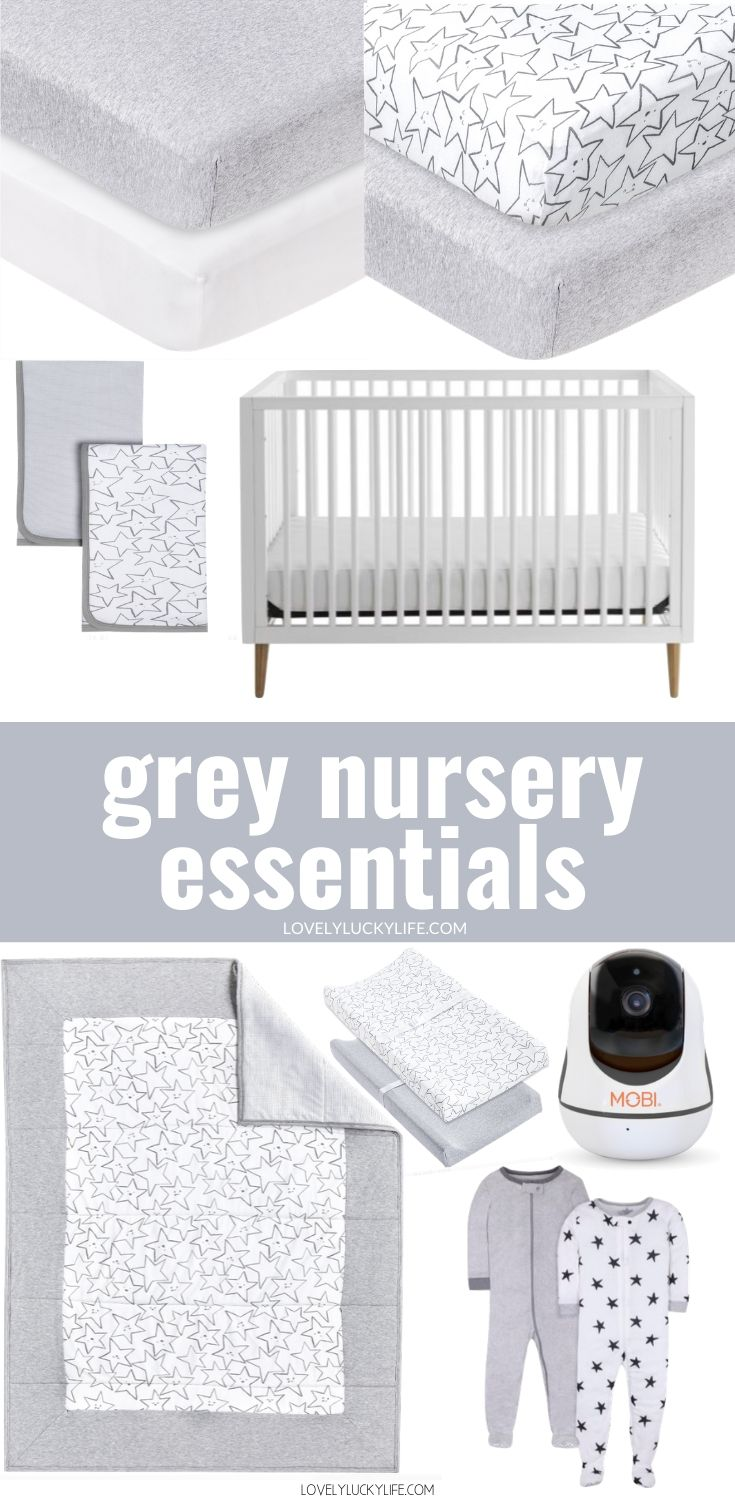 Gender Neutral Baby Registry essentials - grey bedding