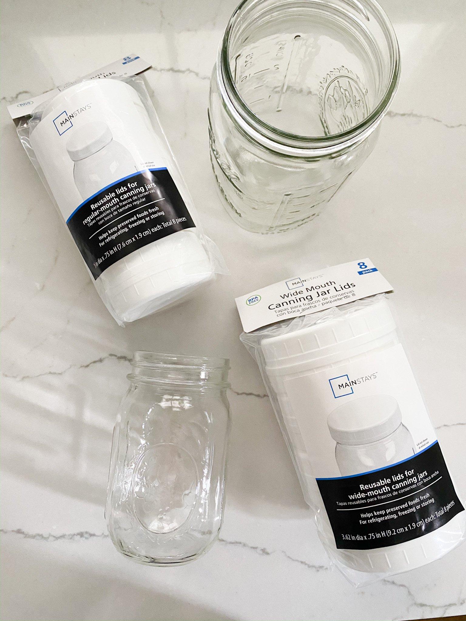 mason jars with plastic lids