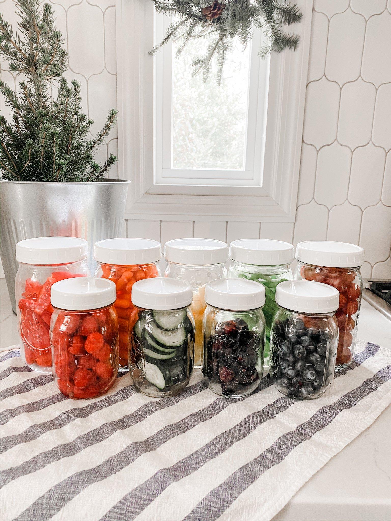 rainbow of mason jar produce