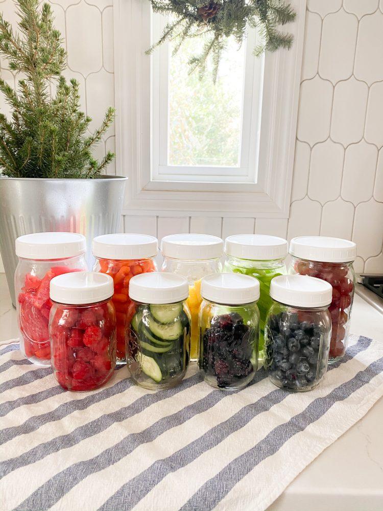 rainbow produce in mason jars