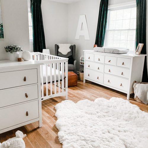 neutral nursery with pops of green
