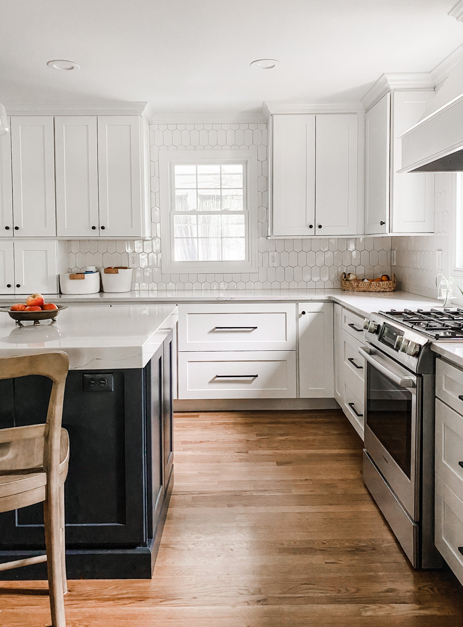 white cabinets and drawers in a family-friendly kitchen