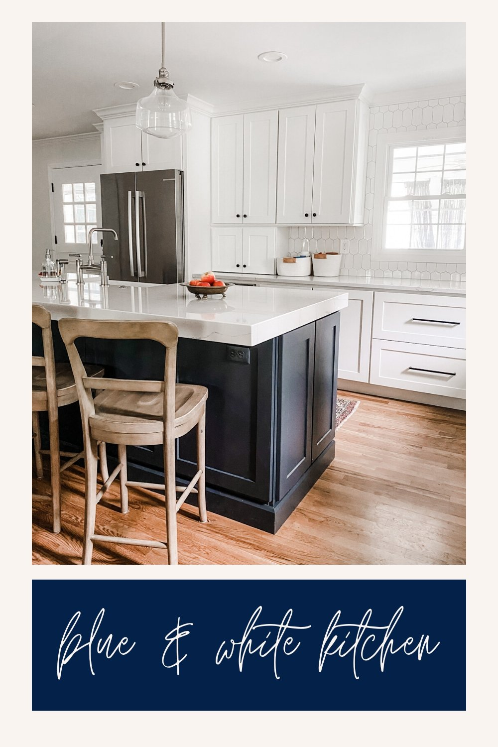 blue and white kitchen design with natural wood accents