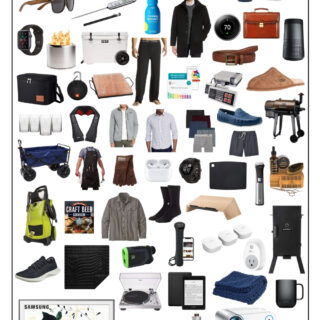 collage of Christmas gift ideas for men