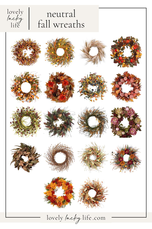 Neutral Fall Wreaths from LovelyLuckyLife.com