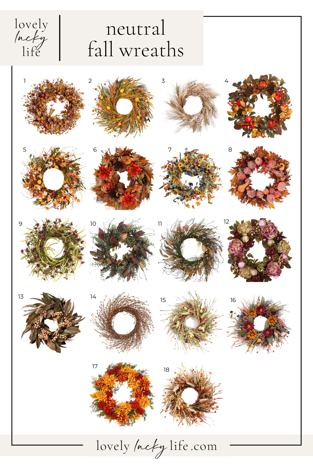 Neutral Fall Wreaths from Lovely Lucky Life